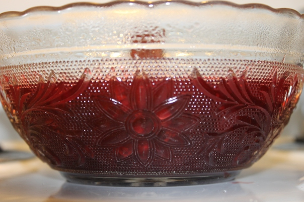 My grandma's pressed glass bowl.